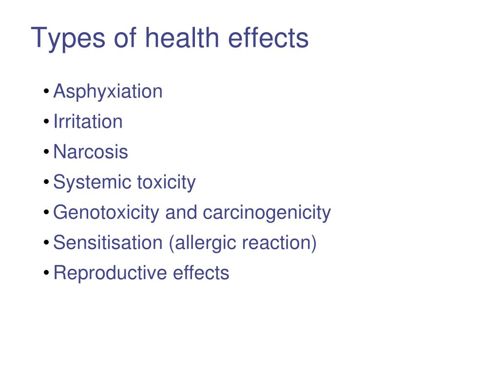 Types of health effects