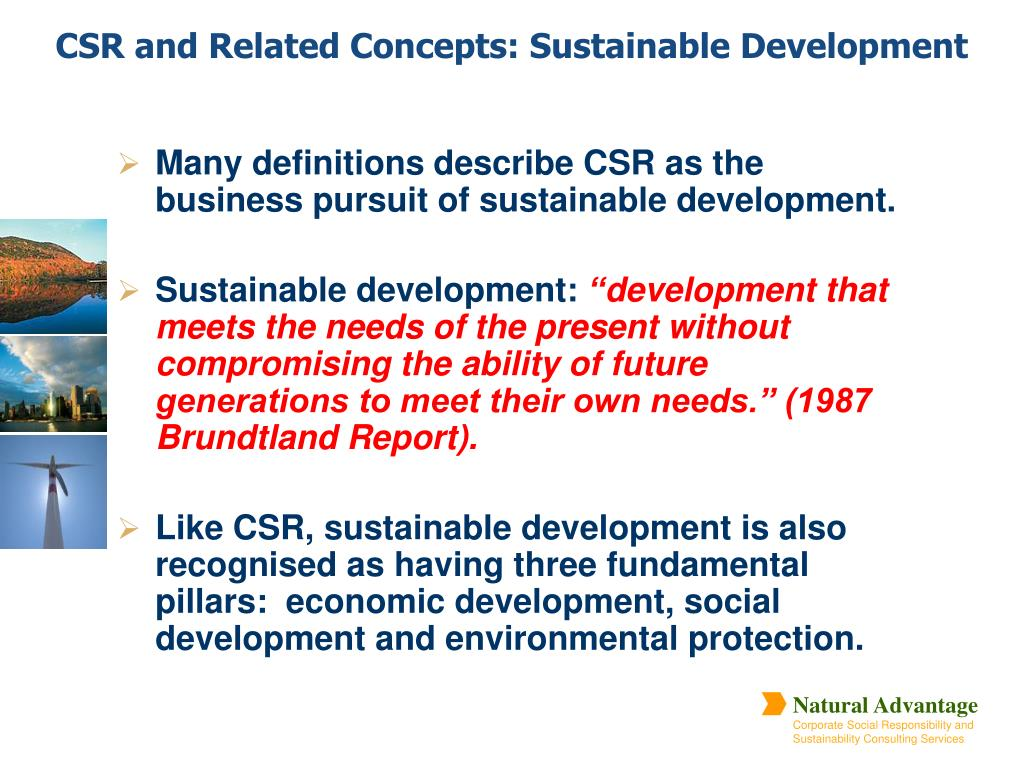 Many definitions describe CSR as the business pursuit of sustainable development.