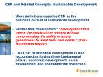 csr and related concepts sustainable development
