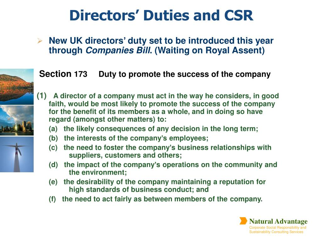 New UK directors' duty set to be introduced this year  through