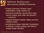 software architecture document sad contents