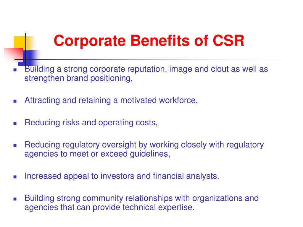 Corporate Benefits of CSR