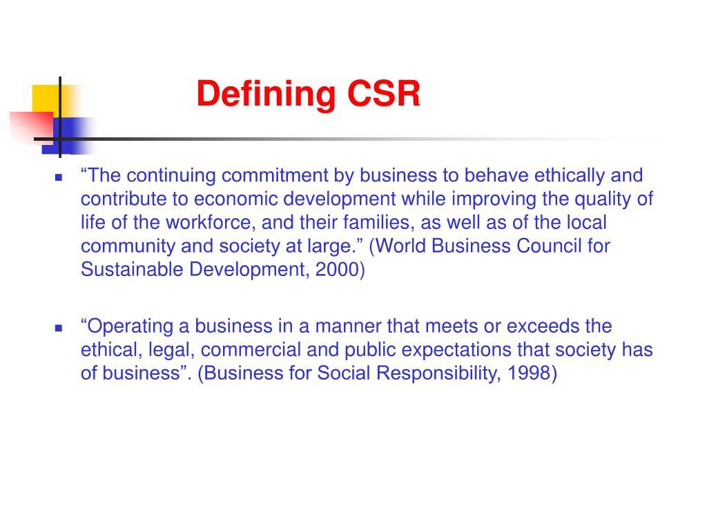 Defining CSR
