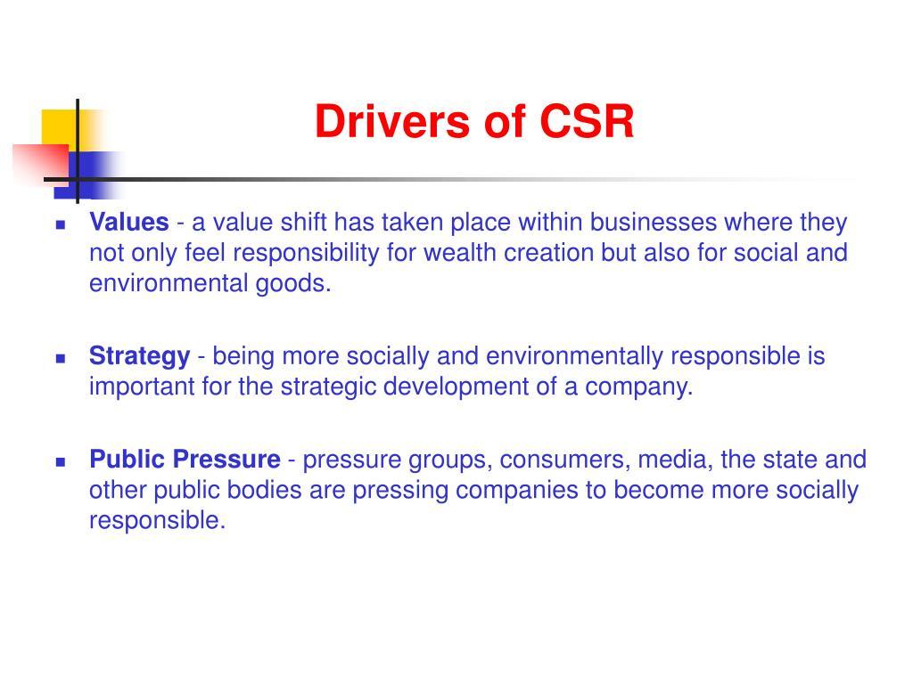 Drivers of CSR