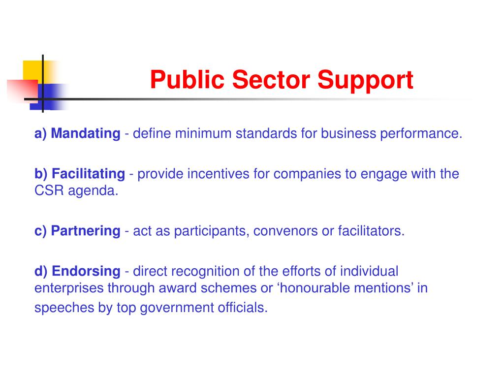 Public Sector Support