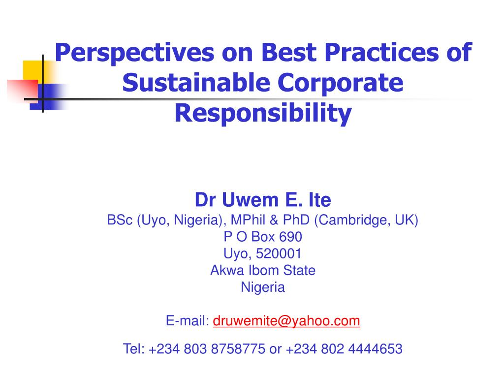 Perspectives on Best Practices of Sustainable Corporate Responsibility