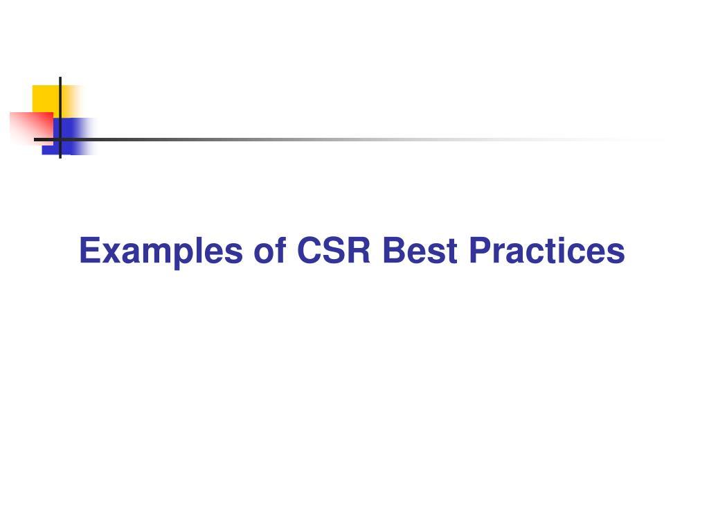 Examples of CSR Best Practices