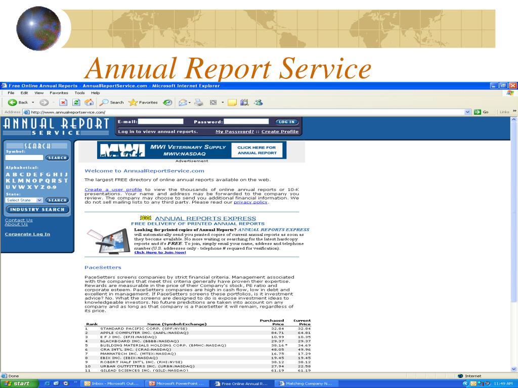 Annual Report Service