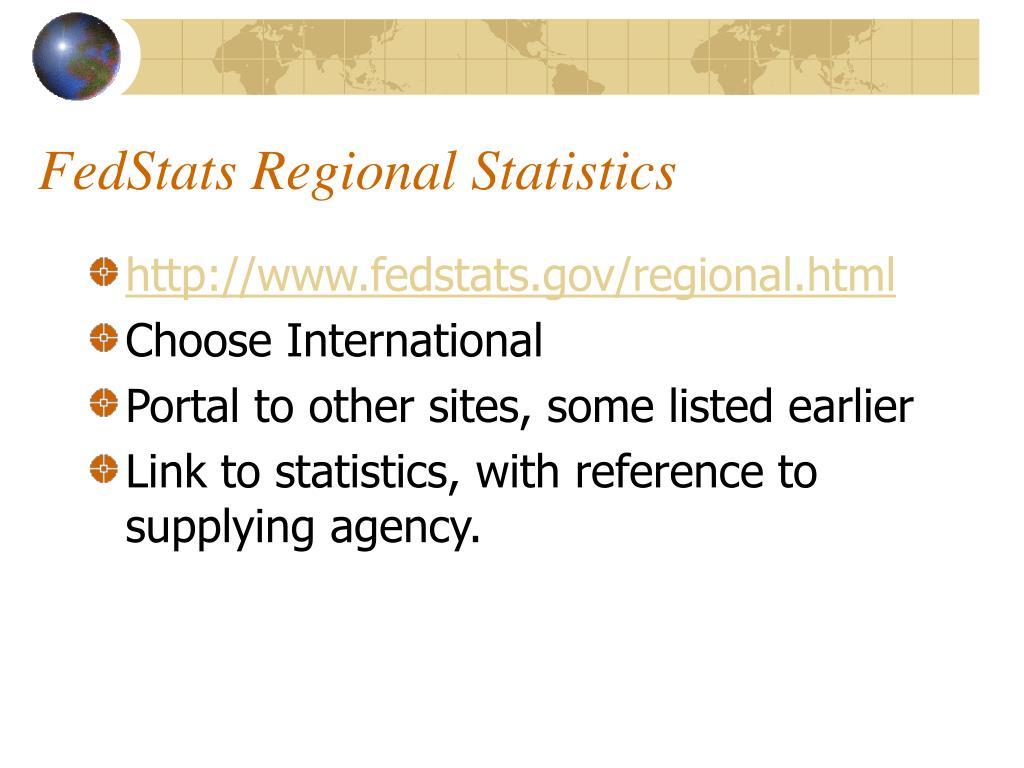 FedStats Regional Statistics