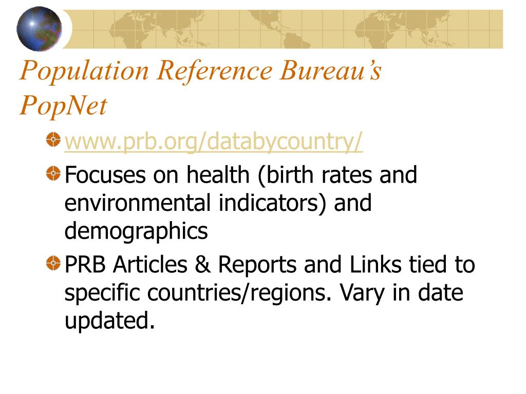 Population Reference Bureau's PopNet