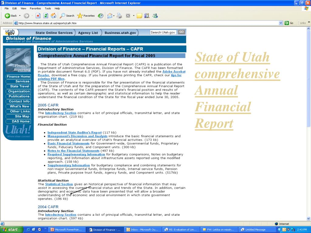 State of Utah comprehensive Annual Financial Report