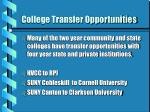 college transfer opportunities