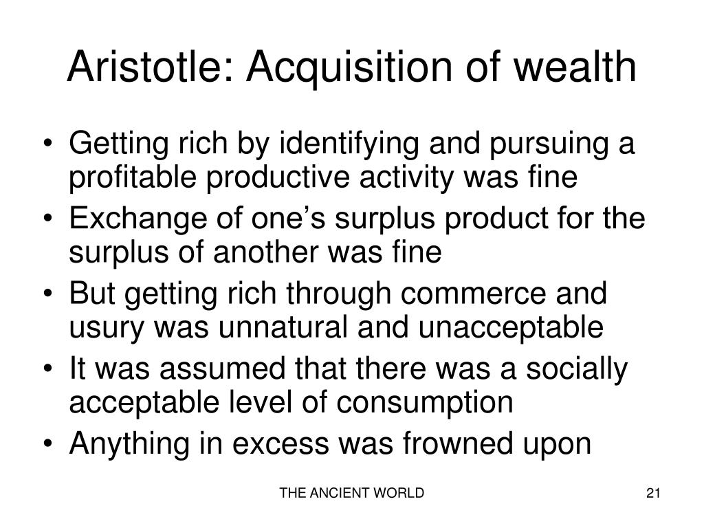 Aristotle: Acquisition of wealth