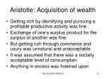 aristotle acquisition of wealth