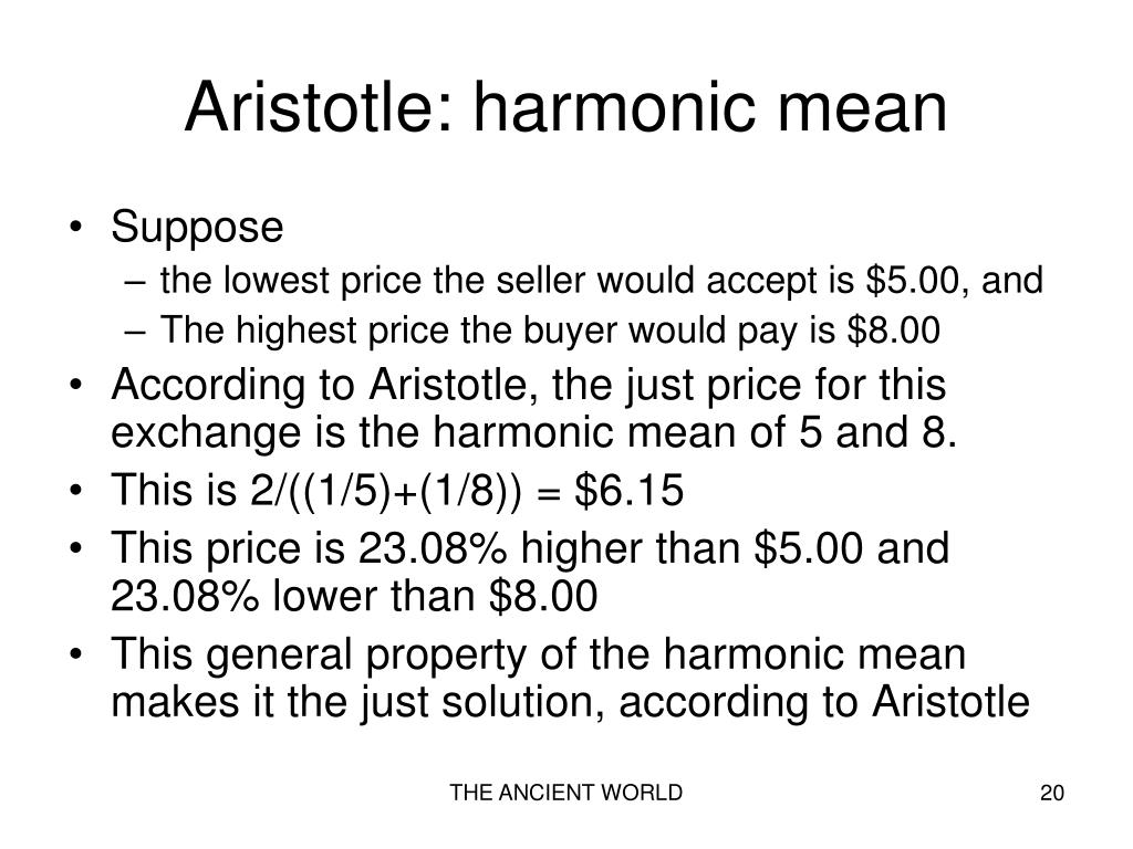Aristotle: harmonic mean