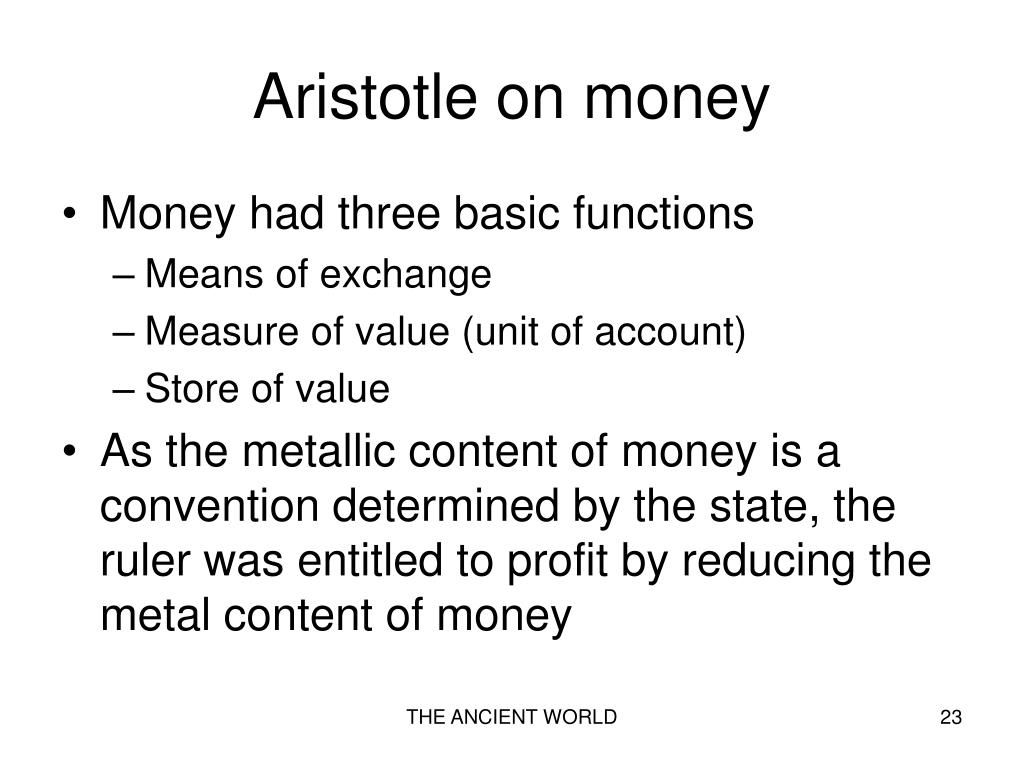 Aristotle on money