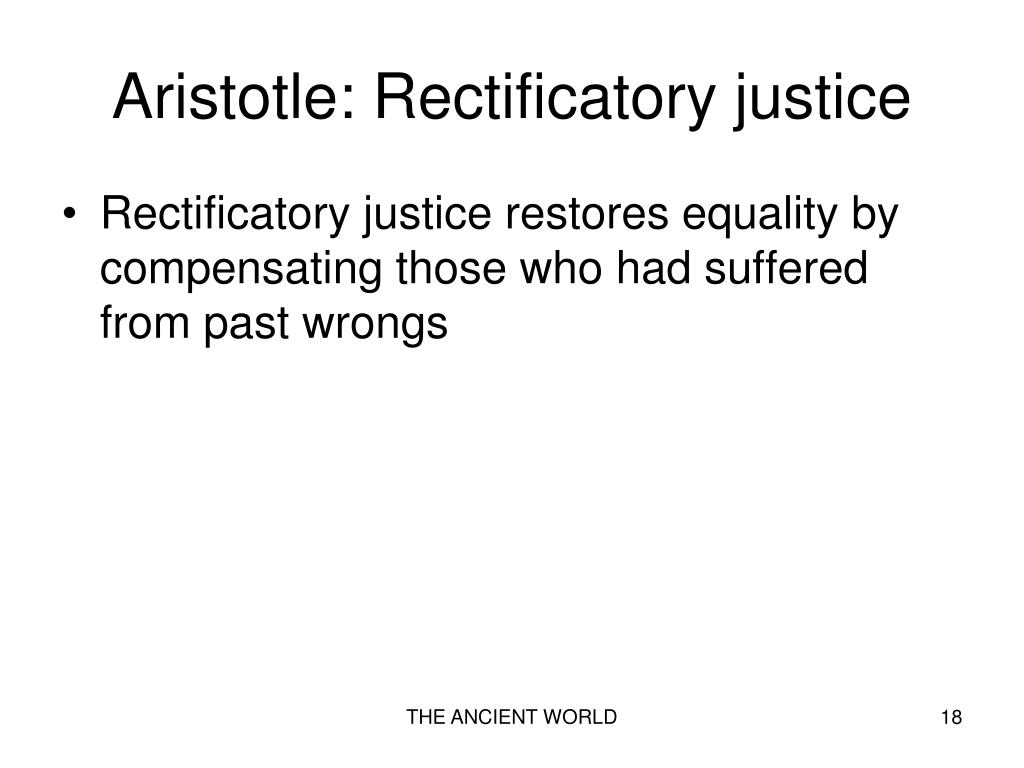 Aristotle: Rectificatory justice