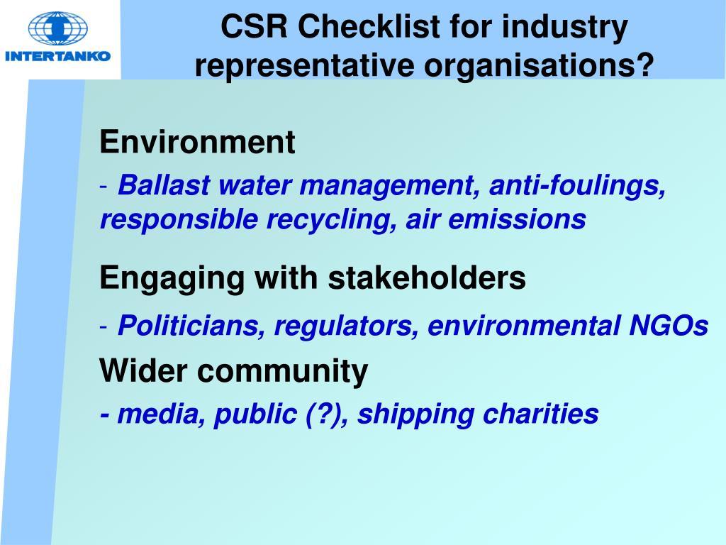 CSR Checklist for industry representative organisations?