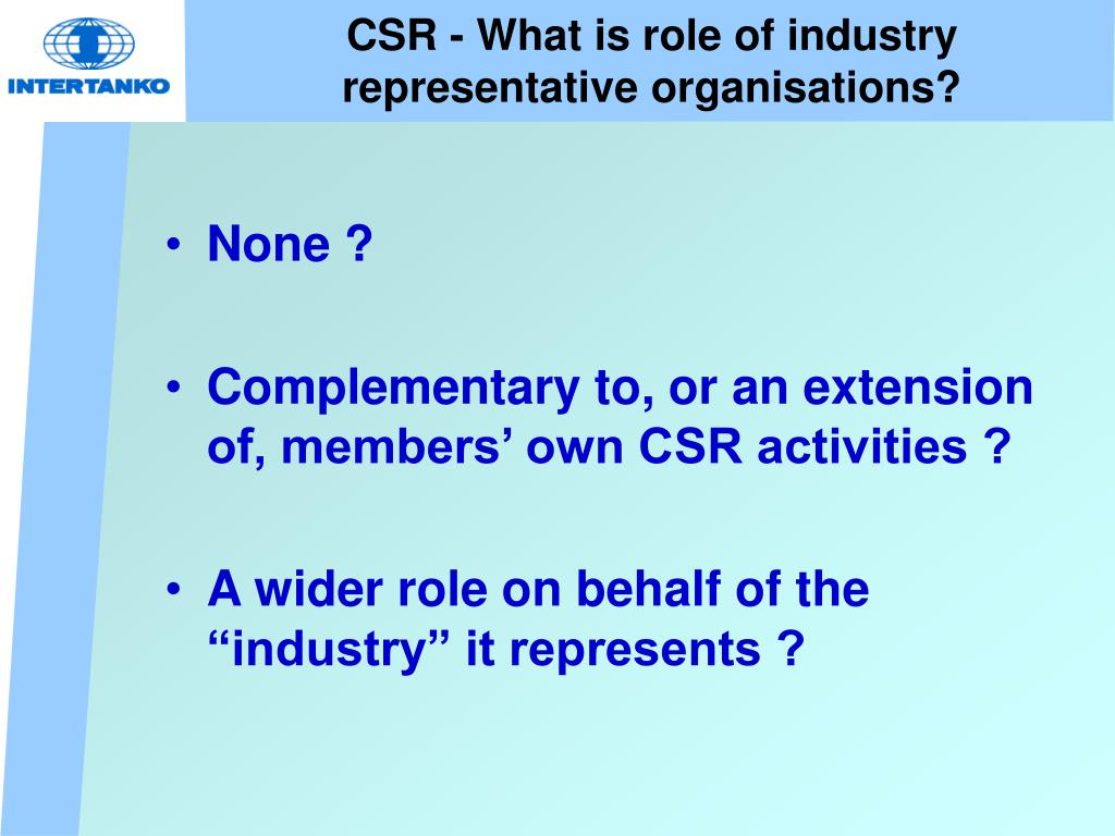 CSR - What is role of industry representative organisations?