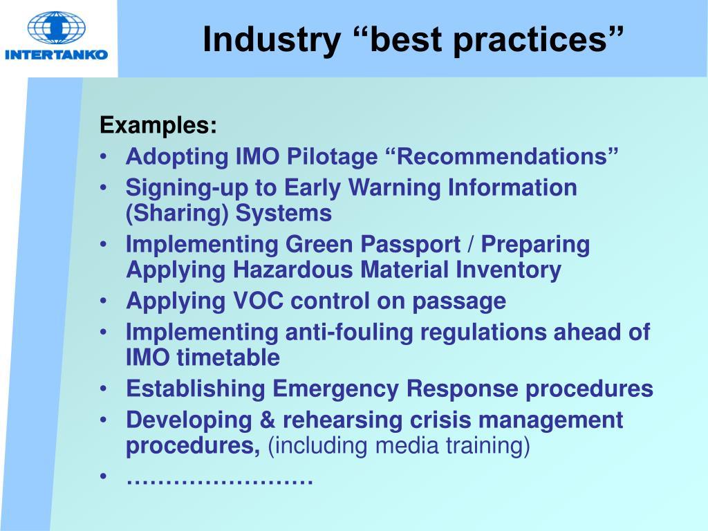 """Industry """"best practices"""""""
