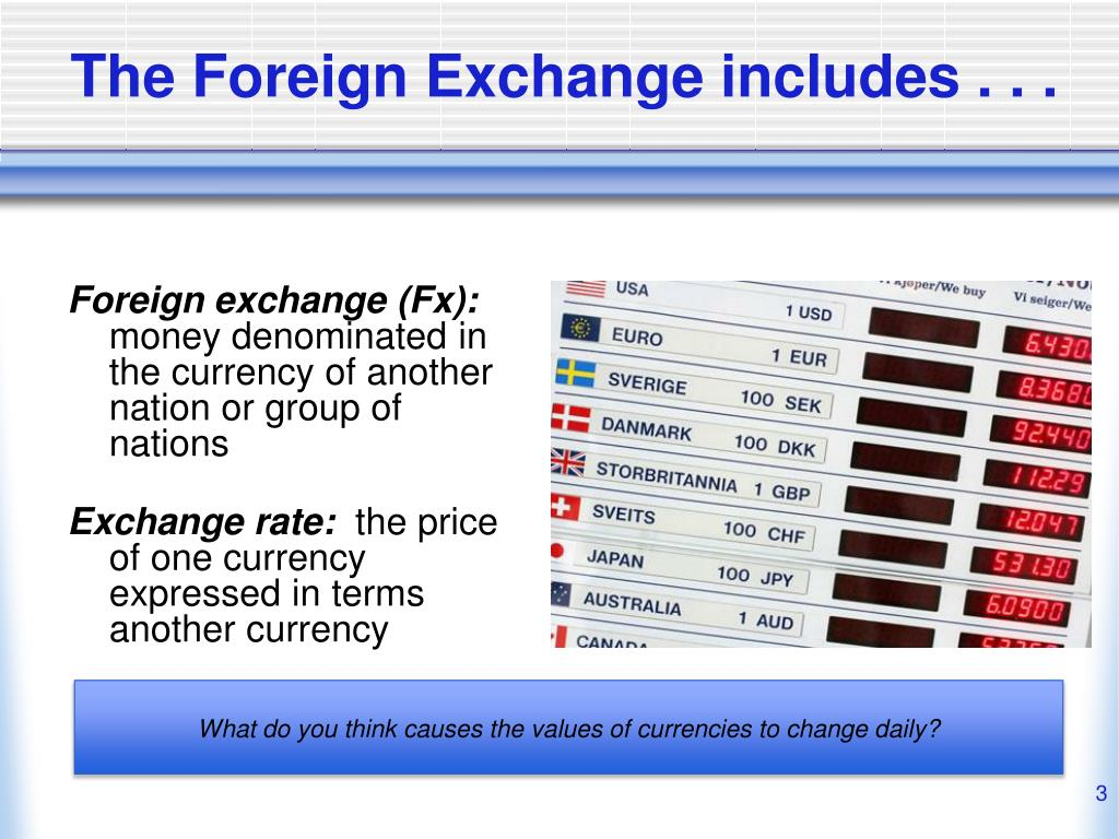 The Foreign Exchange includes . . .