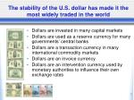 the stability of the u s dollar has made it the most widely traded in the world