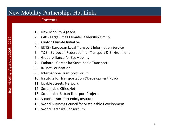 New Mobility Partnerships Hot Links