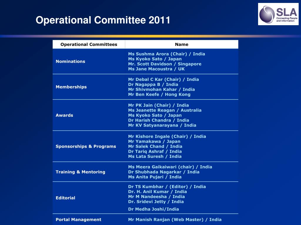 Operational Committee 2011