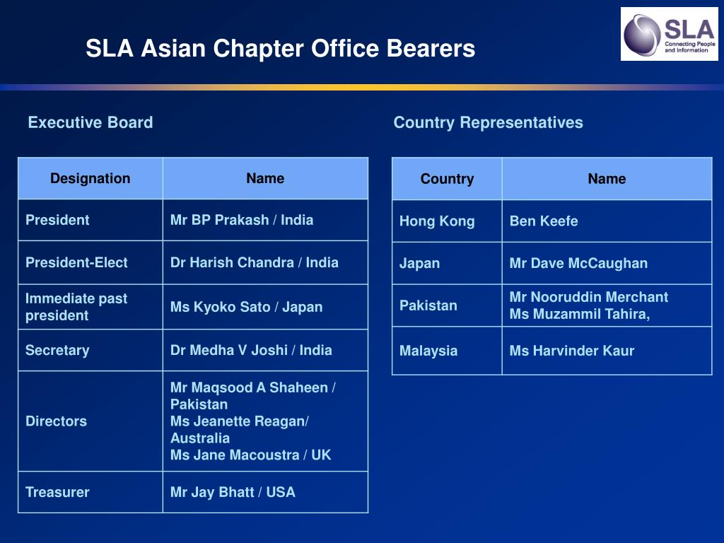 SLA Asian Chapter Office Bearers
