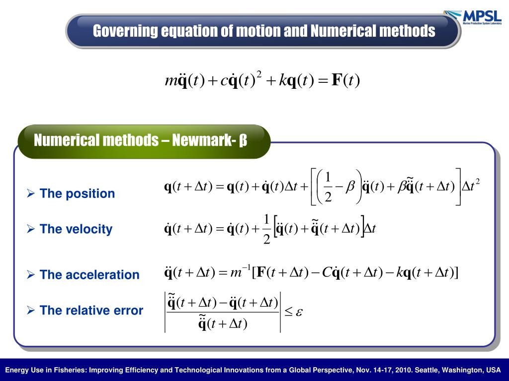 Numerical methods – Newmark-