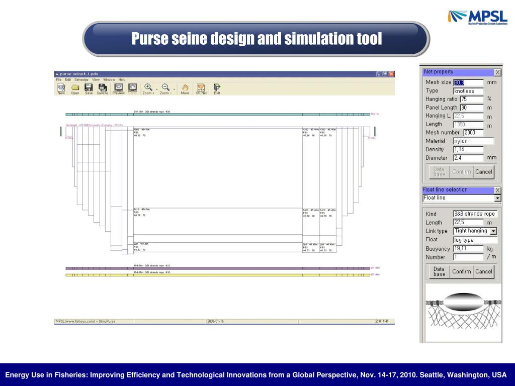 Purse seine design and simulation tool