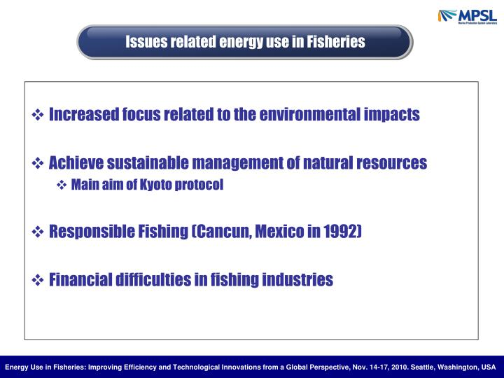 Issues related energy use in Fisheries