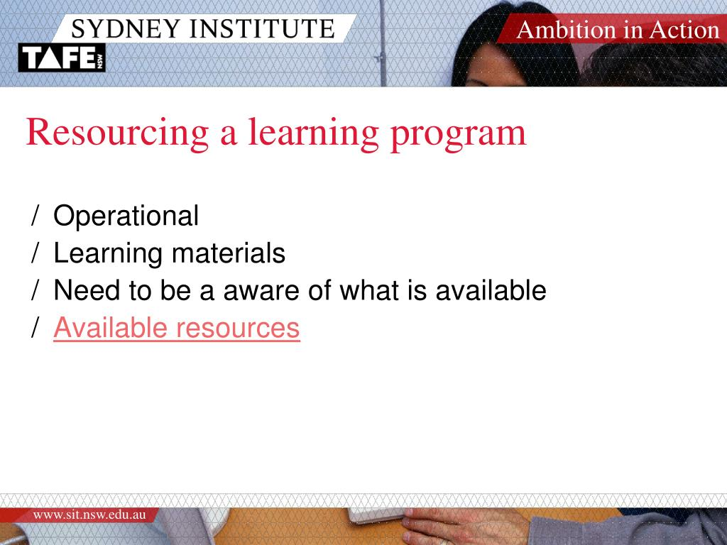 Resourcing a learning program