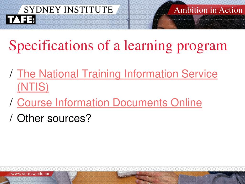 Specifications of a learning program