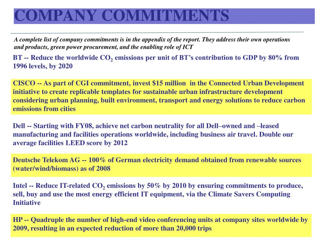 COMPANY COMMITMENTS