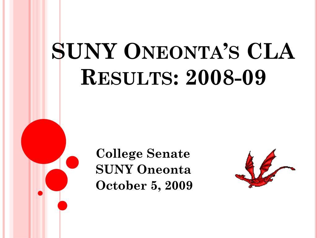SUNY Oneonta's CLA Results: 2008-09