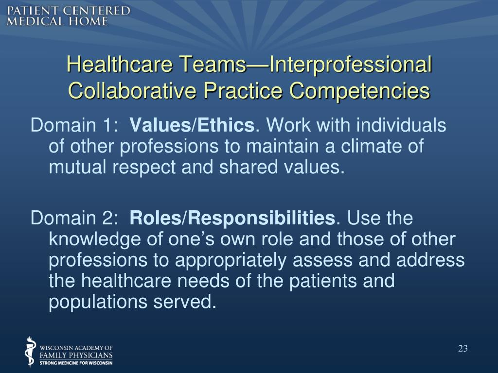 Healthcare Teams—Interprofessional Collaborative Practice Competencies