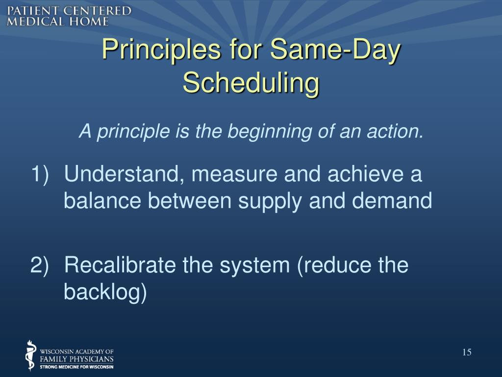 Principles for Same-Day Scheduling