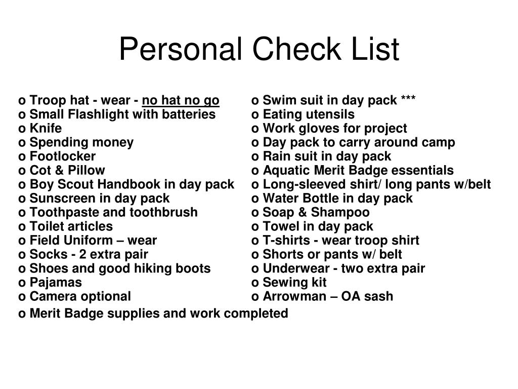 Personal Check List