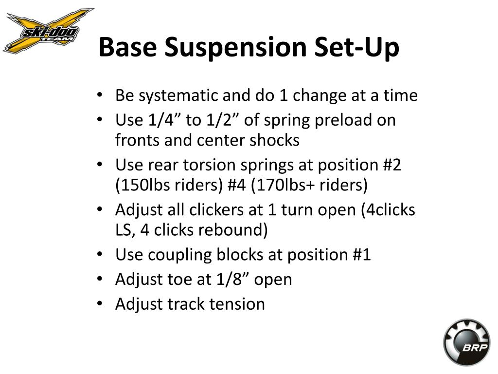 Base Suspension Set-Up