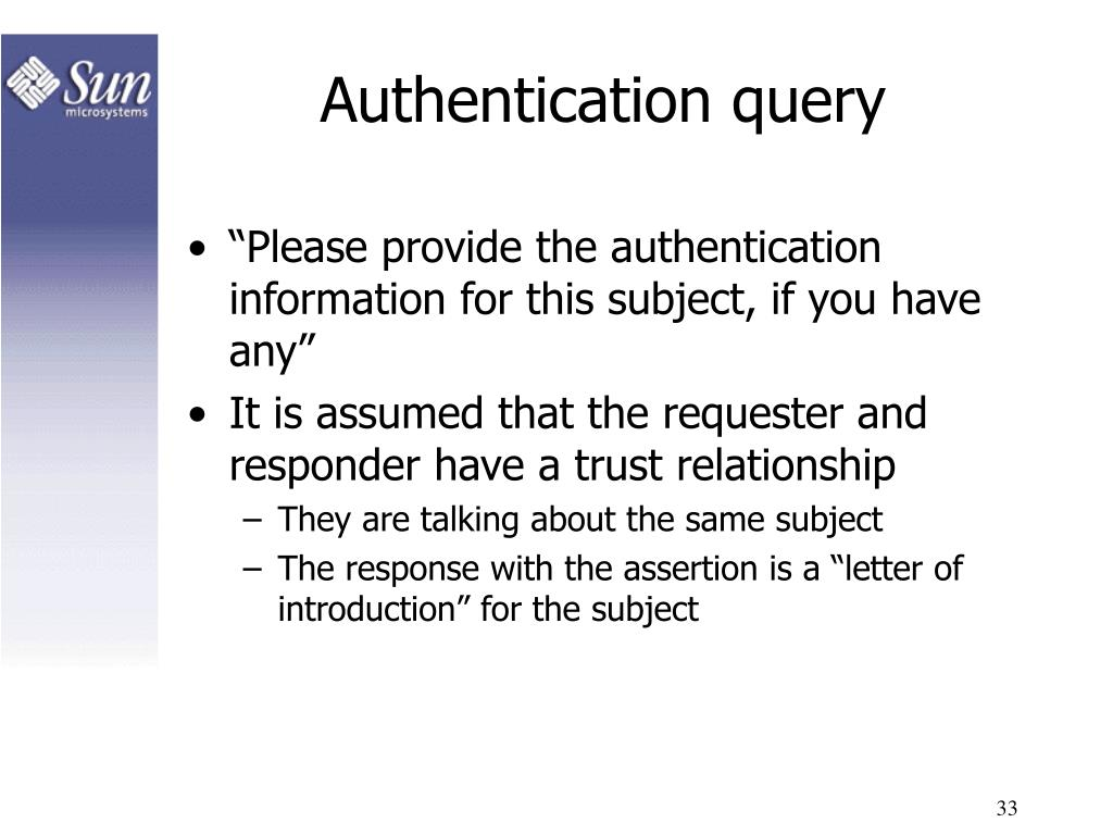 Authentication query