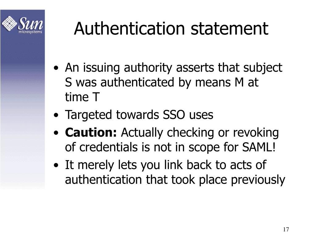 Authentication statement