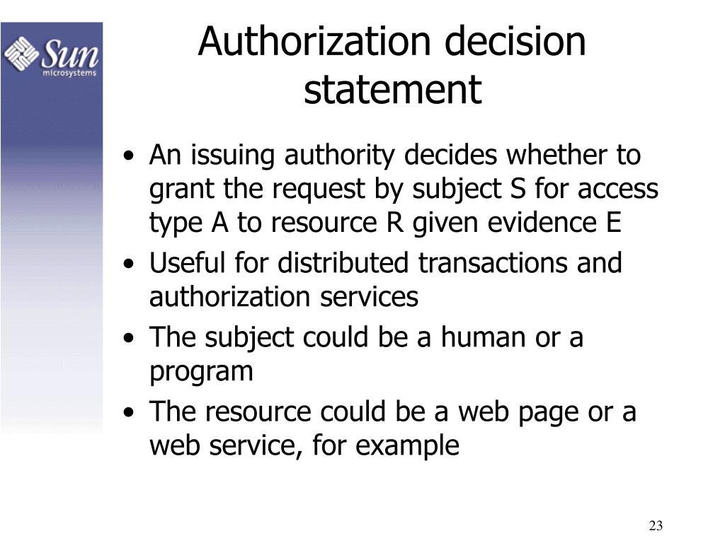 Authorization decision statement