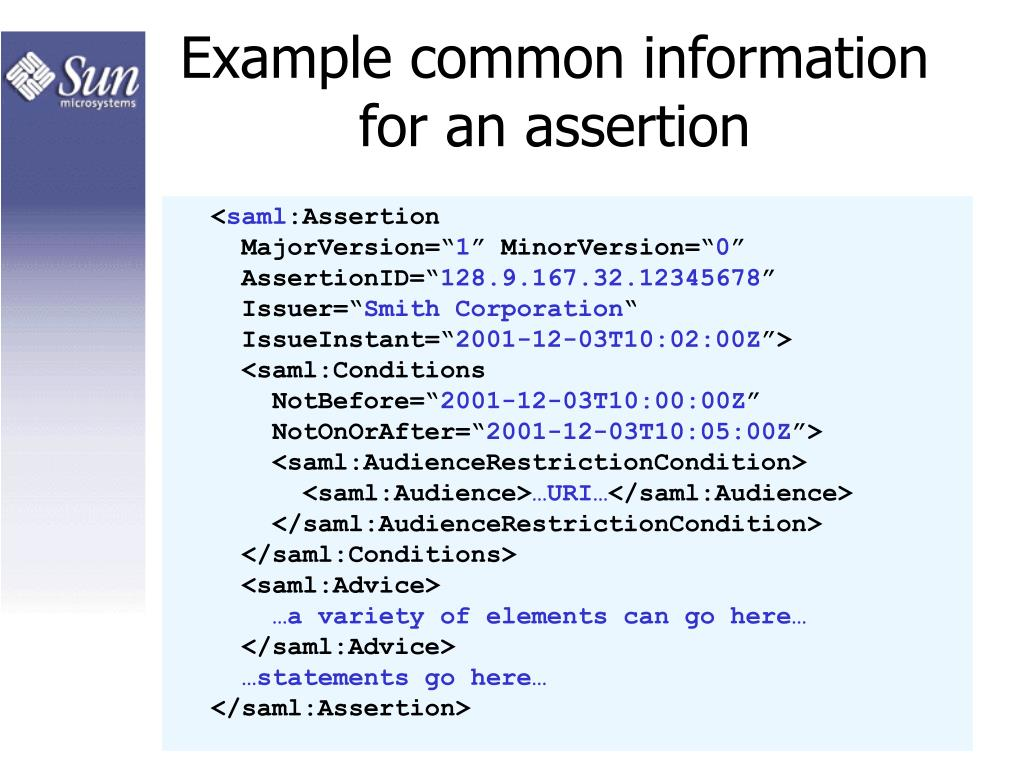 Example common information for an assertion