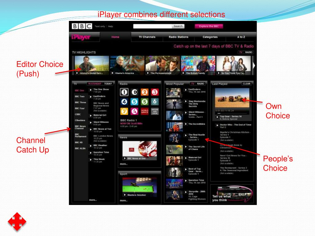 iPlayer combines different selections