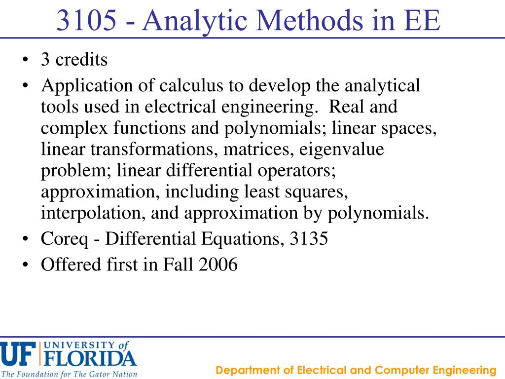 3105 - Analytic Methods in EE