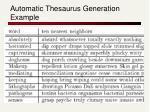 automatic thesaurus generation example