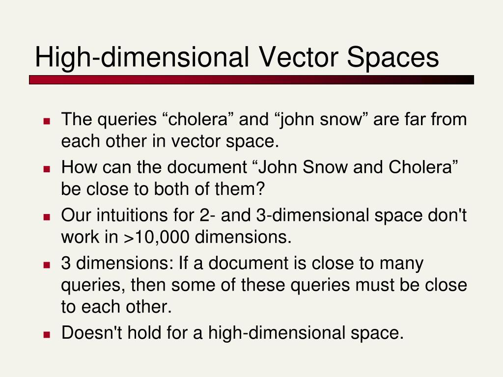 High-dimensional Vector Spaces