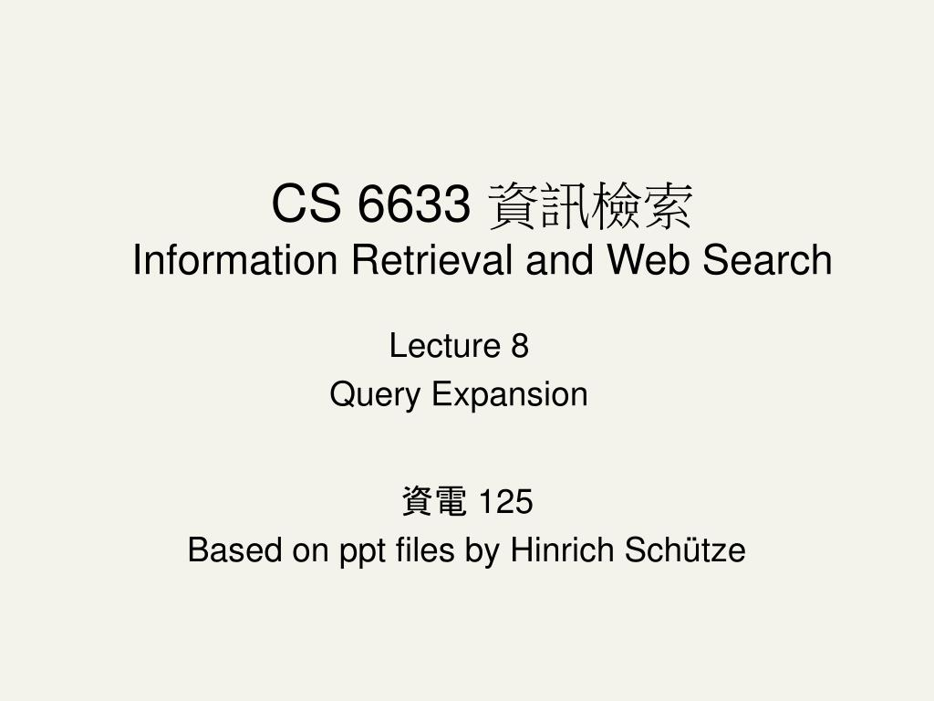 lecture 8 query expansion