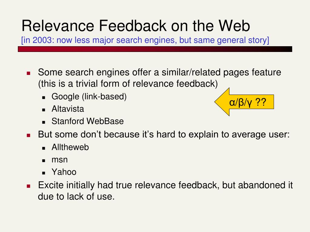 Relevance Feedback on the Web